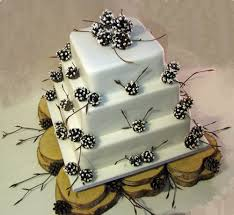 Rustic Winter Wedding Cake With Pine Cones