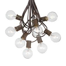 100 clear g40 globe outdoor string light set on brown wire