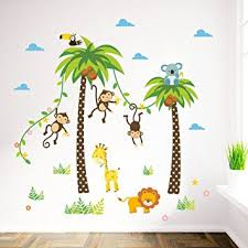 stikers chambre bebe elecmotive jungle autocollants muraux mural stickers chambre
