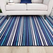 modern teal blue white striped living room rug sardinia kukoon