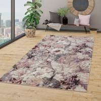wohnzimmer teppich kurzflor esszimmer blumen real de