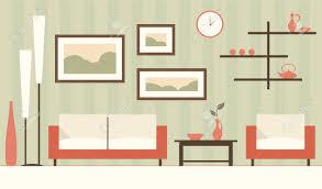 vector green interior of minimalistic modern living room