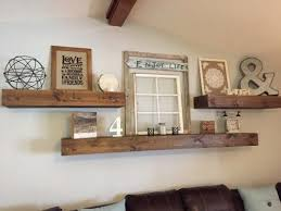 Living Room Decor Rustic Farmhouse Style Floating Shelves Over