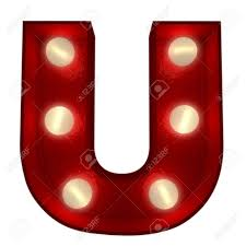 3D Rendering A Glowing Letter U Ideal For Show Business Signs