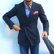 double breasted blazer from j by uniqlo pocket square from