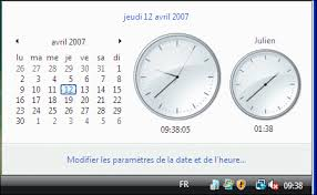 afficher plusieurs horloges windows vista