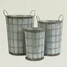 Caged Galvanized Metal Flower Vases Set Of 3