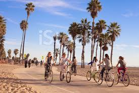 Riding Bikes At Santa Monica Beach