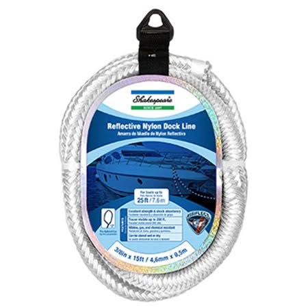 Wellington Cordage Marine Dock Line, Reflective White Nylon, 1/2-In. x 25-ft.