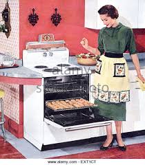 1950s USA Happy Housewife With New Cooker Magazine Advert Detail