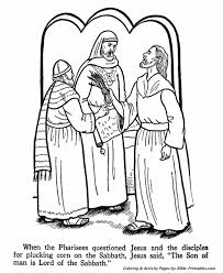 Jesus Teaches Coloring Pages P6 Pharisees Question