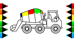 100 Construction Truck Coloring Pages How To Draw Mixer Drawing