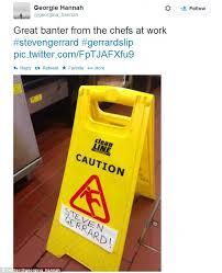 Caution Wet Floor Banana Sign by Steven Gerrard U0027s Unlucky Slip As Liverpool Lose To Chelsea An Open