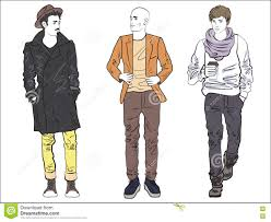 Attractive Modern Fashionable Man Set In Fashion Clothes Color Line Drawing