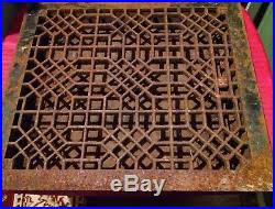 antique cast iron floor heat register grate with louvers