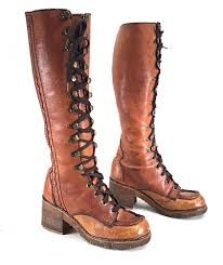 size 6 5 m 1970 u0027s women u0027s tall lace up campus boots brown