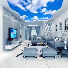 benutzerdefinierte decke wandbild tapete 3d blauen himmel und weißen wolken wohnzimmer schlafzimmer decke hintergrund foto tapete tapeten