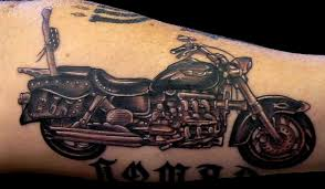 Awesome Harley Davidson Bike Tattoo On Arm