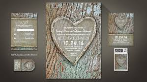 Carved Heart Old Tree Rustic Wedding Invitations