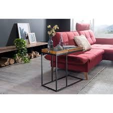 wohnling beistelltisch wl5 667 sheeshamholz 70x65x34 cm mit metallgestell design tv tray tabletttisch wohnzimmer kleiner palisander serviertisch