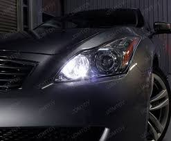 2009 infiniti g37 poses with t10 led bulbs for parking lights