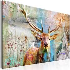 decomonkey bilder hirsch 120x80 cm leinwandbilder bild auf leinwand wandbild kunstdruck wanddeko wand wohnzimmer wanddekoration retro vintage tiere