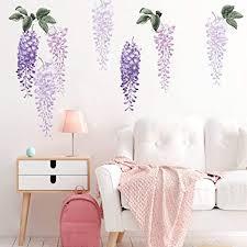 decalmile wandtattoo lila glyzinien blumen wandaufkleber hängende rebe blätter wandsticker kinderzimmer mädchen schlafzimmer wohnzimmer sofa