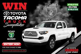 Toyota Sweepstakes To Benefit Road 2 Recovery Foundation - Racer X ... Build Your Tundra Sweepstakes Julies Freebies Stabil 360 Custom Car Winner Presentation Cool Jasons Story The Of Knapheides Winatruck Win That Ford Mustang Sweeptsakes Mungenast St Louis Honda Enter The Camp Ridgeline Bangshiftcom Classic Liquidators Upgrade Brakes On A 1971 C10 Chevy Pickup Truck Cabelas Announces More Winners Fifty Years Trucks Horsepower Pitvsind Youtube Monster Trucks Merchandise Nra Blog Truck Raffle Receives Prize
