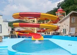Big Spiral Fiberglass Water Slides Open Flume Slide For Swimming Pool