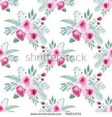 Watercolor Seamless Pattern With Pink Flowers Branches And Leaves Vintage Floral Rustic Wallpaper Of
