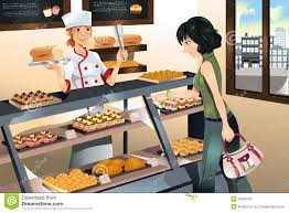 Buying cake at bakery store A illustration of a woman ing cake at a bakery