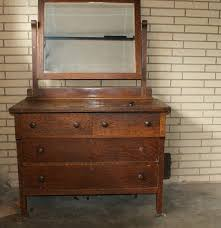 Tiger Oak Dresser With Swivel Mirror by Vintage Tiger Oak Veneer Chest With Mirror Ebth