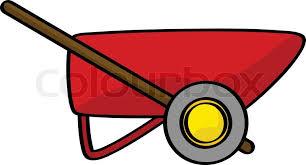 Cartoon illustration of a red wheelbarrow vector
