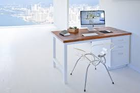 Reclaimed Wood Desk Top Office Furniture Modern Custom White Metal Desk With Vintage Wood Top Ying Yang White Heavy