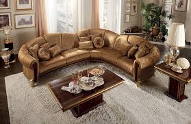 Furniture Brown Leather Traditional Sectional Sofa With Cushions