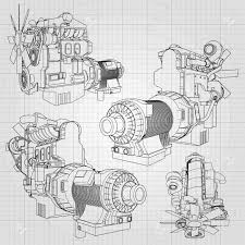 100 Big Truck Paper A Diesel Engine With The Depicted In The Contour Lines