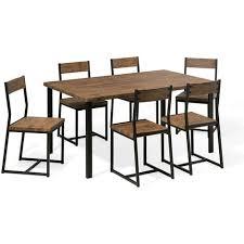 essgruppe esszimmer set 6 sitzer schwarz mit braun tisch und