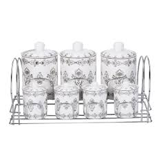 Ceramic Kitchen Canister Sets Silver Platinum Design Ceramic Kitchen Canister Sets Tea Coffee Sugar Canisters Set With Stainless Steel Rack Buy Kitchen Canister Sets Ceramic Tea