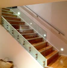 Furniture, Wall Mounted Lighting For Stairs With Glass Railing ... Modern Glass Stair Railing Design Interior Waplag Still In Process Frameless Staircase Balustrade Design To Lishaft Stainless Amazing Staircase Without Handrails Also White Tufted 33 Best Stairs Images On Pinterest And Unique Banister Railings Home By Larizza Popular Single Steel Handrail With Smart Best 25 Stair Railing Ideas Stairs 47 Ideas Staircases Wood Railings Rustic Acero Designed Villa In Madrid I N T E R O S P A C