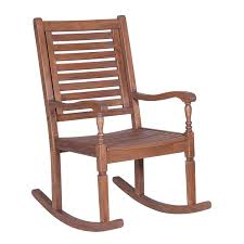 Walker Edison Furniture Co. Solid Acacia Wood Rocking Patio Chair, Dark  Brown