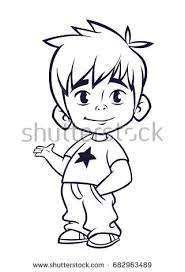 Vector Illustration Of Small Boy Outlines Cartoon A Young Dressed Up In