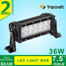 2520 lumen output 7 5inch led light bar 36w truck roof r light