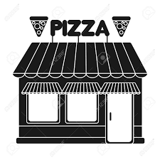 Pizzeria Icon In Black Style Isolated On White Background Pizza And Symbol Vector Illustration