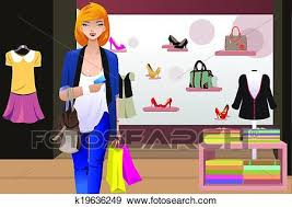 Clip Art Of Shopping Woman Inside The Clothing Store K19636249