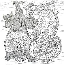 Lion And Dragon Coloring Book Page For Adults