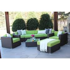 Hiawatha 8 PC Modern Outdoor Rattan Patio Furniture Sofa Set