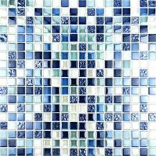 bathroom wall mosaics sea blue glass backsplash mirror design