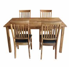Furniture Solid Oak Dining Table And Chairs With Black Leather Seat Wood