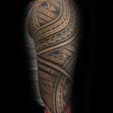 Grey Ink Polynesian Sleeve Tattoo For Men