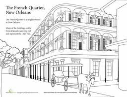 Mardi Gras Activities French Quarter Coloring Sheet